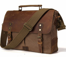 Vintage casual men's portable briefcase canvas postman bag Messenger bag with crazy horse leather 14 Inch Laptop Bag Cross Body(China)