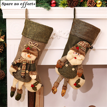 Large Vintage Christmas Stockings Filler Artificial Christmas Tree Ornaments Christmas Decorations for Home(China)