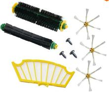 9 Pc side brush + filter + screw kit  replacement for Irobot Roomba 500 527 528 530 532 535 540 555 560 562 570 572 580 581 590