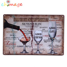 Good wine good friends good life Vintage Tin Sign Bar pub home Wall Decor Retro Metal Art Poster(China)