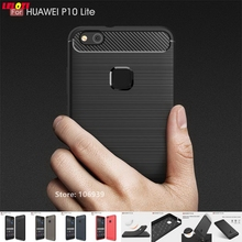 LELOZI Cheap Cool Soft TPU ShockProof Armor Rugged Carbon Fiber Brushed Men Phone Coque Etui Case For Huawei P10 Lite 5.2 Gray