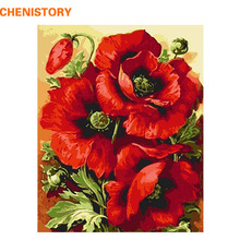 CHENISTORY Acrylic Picture Red Flower DIY Digital Painting By Numbers Home Decor Modern Wall Art Canvas Painting Wall Artwork(China)