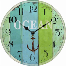 Vintage Antique Wooden Wall Clock Modern Design Oversized Decorative Wall Clocks Cheap Blue Ocean Stripe Anchor Clock