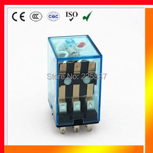 Free shipping (10pcs/lot) HH53P my3 ac 24v 11 pin relay 12v 36v 48v 110v 220v DC/AC 5A mini electromagnets 3pdt relay
