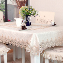 Floral Lace Edge Rectangular Round Cutwork Embroidered Table Cloth Polyester Dining Wedding Tablecloth Toalha De Mesa