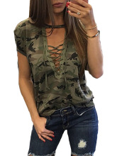 New Fashion Women Ladies Short Sleeve Camouflage Loose Blouse Summer Lace Up Casual Blouses Shirts Tops(China)