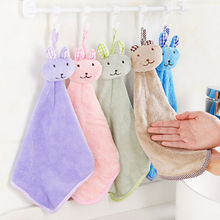 Cute Baby Nursery Rabbit Hand Towel Toddler Soft Plush Cartoon Animal Wipe Hanging Bathing Towel For Children Bathroom 5 Colors