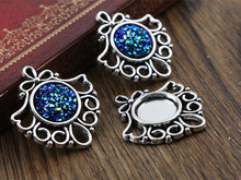 12pcs 12mm Inner Size Antique Silver Fashion Style Cabochon Base Cameo Setting Charms Pendant (A2-35)(China)