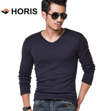 HORIS T Shirt Men Long Sleeve Solid Color V Neck Slim Fit Spring Autumn Wear Cotton Spandex Men's T-Shirts Fashion Top Tees H204(China)