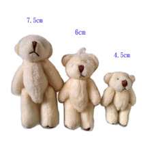 Free Shipping Plush Mini 6cm Soft Joint Teddy Bear Toy Mobile Hanging Bear Blue/Pink/Beige/Coffee 100pcs/lot/pack(China)