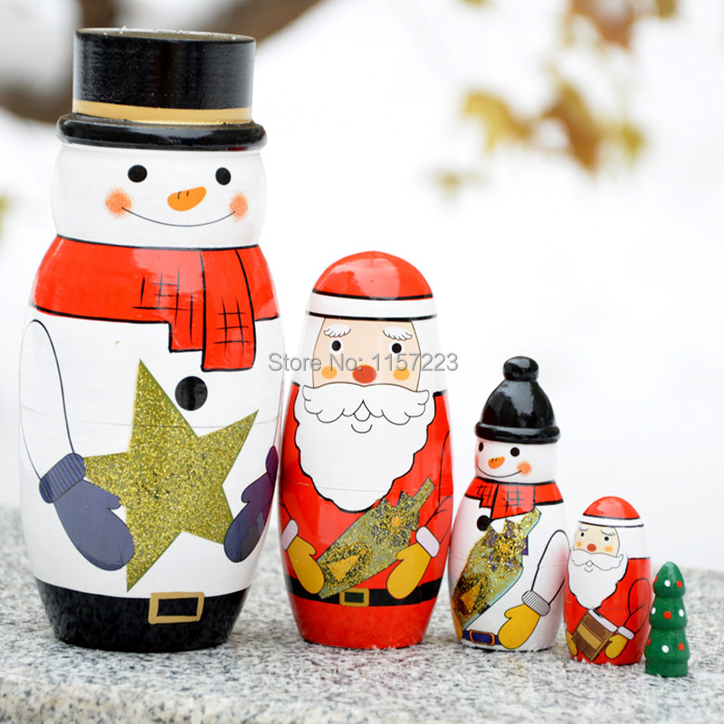 Christmas Style Russian Nesting Matryoshka Wooden Dolls Set Hand painted Home decoration crafts Christmas gift for Kids,5pcs/set<br><br>Aliexpress