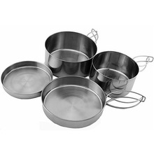 Outdoor Pan Pot Camping Stainless Steel Cookware Tableware Pan Pot Bowl Cooking Set VEN08 T31