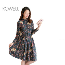 Buy KOWELL Floral A-Line Dress New 2017 Fashion Turn-down Collar Long Sleeve Women Vintage Spring Chiffon Dresses Dropshipping DS004 for $12.29 in AliExpress store