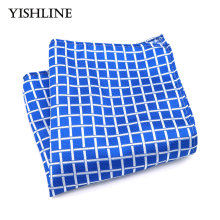 F200 Classic Men's Silk Handkerchief Vintage Hanky Woven Blue White Plaid Check Pocket Square 25*25cm Wedding Party Chest Towel(China)