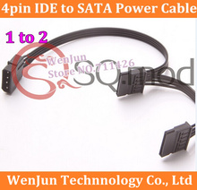 20PCS Free Shipping SATA Power Supply Cable 4Pin IDE Molex to 2 SATA Connector Lead 18AWG Wire For HDD SSD Cage PC Server DIY
