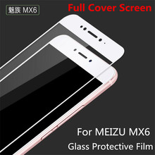 Premium Full Cover Color Tempered Glass For Meizu MX6 / 5.5 inch Screen Protector Protective Film Guard Golden White Black Gold(China)