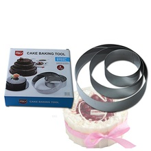Hot Sale Round Stainless Steel Circle Mousse Ring Baking cakeTool 3Pcs/Set 3 Layer Cake Mould Bakeware Mold