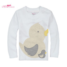 Mom's care Cartoon Duck Childrens T shirts 100% Cotton Long Sleeves Infant Baby Boys Girls Shirt Tops Tees Sweatshirt for Spring(China)