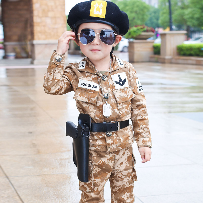 Spring Fall Little Boys Fashion Camouflage Clothing Set Baby Kid Military Uniform Clothes Jacket Pants 2 pcs Set<br>