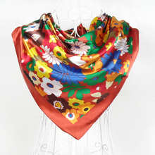 Japan Style Female Floral Pattern Satin Square Scarf Printed 90*90cm Dark Red Polyester Silk Scarves Shawl For Autumn Winter