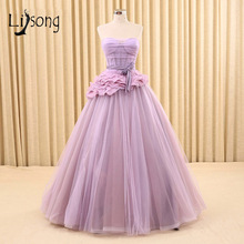 Lilac Strapless A-line Tiered Evening Dresses Long Women Lavender Evening Formal Dress Maxi Gowns A Line Party Red Carpet Dress(China)