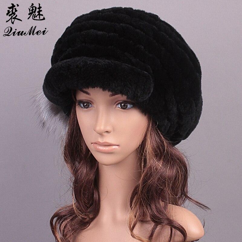 QiuMei Real Fur Hats Beanies Rex Rabbit Caps New Fashion Knitting Rabbit Fur Hat Girl Ukrainian Russian Fur Hat for Women WinterÎäåæäà è àêñåññóàðû<br><br>