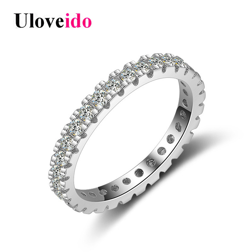 Uloveido 40% Off 925 Sterling Silver Costume Jewelry Wedding Rings for Women Ring Female Zircon Ringen with Box Bijoux JZ109(China)