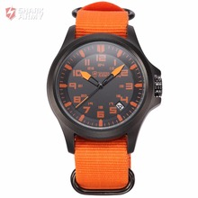 SHARK ARMY Brand Orange Nylon Fabric Band Date Display Electroplate Case 24Hrs Analog Men Quartz Military Sport Watches /SAW086