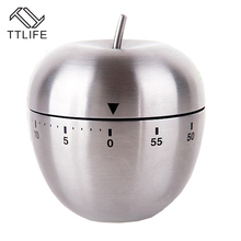 TTLIFE Stainless Steel Cooking Tool Mechanical Egg Kitchen Cooking Timer Apple Alarm Clock 60 Minutes Magnetic Timer Reminder