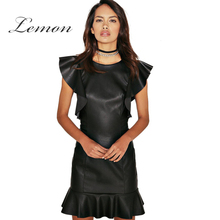 Lemon 2017 Summer Solid Black PU Ruffles Mermaid Dress Women Clothing Zipper Mini Vestido Skinny Chic Female Dress