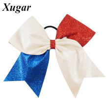 1 Pc 7 '' Red White Blue Patchwork Glitter Cheer Bow Shiny Flag Hair Bow For Cheerleaders Dance Team(China)