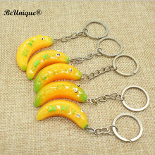 Creative Simulation Fruit keychains Resin Funny Banana with eyes key ring Cell Phone Charm Bag pendant Decor Promotion Gifts