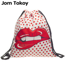 DOT LIPS  3D printing Women Classic forever  brand mochila escolar man bags Travel mochilas school backpack drawstring bag