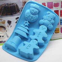 6 Cavity Xmas snowman tree bell bear shape Silicone soap mold  handmade Chocolate Fondant cake mould Baking mold DIY Decoration