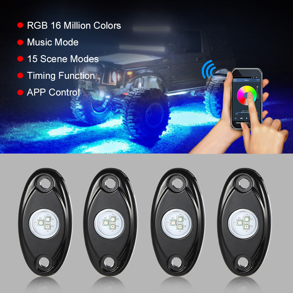 4pcs 12V RGB LED Rock Lights Wireless Controlled Music Flashing IP67 Waterproof for Jeep Off Road SUV Truck<br>