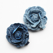 Top Quality 20pcs Floral Hair Accessories Navy Blue Camellia Flower Girls Hairpins Cowboy Material 5CM Diameter Hair Clips(China)