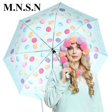 Full-Automatic Candy Color Umbrella Rian Women France Macaron Parasol Folding Portable Windproof Brand Style Rain Gear Men KY010