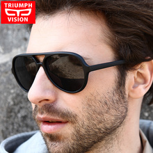 TRIUMPH VISION Black Aviator Sunglasses Men 2017 Brand Shades Oculos Male Original Pilot Sun Glasses For Men Fashion New Glasses