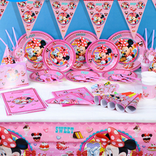 Disney Minnie Mouse Theme Tableware Party Decoration For Children Boys Girls Event Birthday Party Supplies Wedding Favors