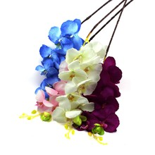 2016 New 8Pcs Artificial Fake Flower Butterfly Orchid Silk Flower Home Wedding Party Decor Phalaenopsis Flower Arrangement