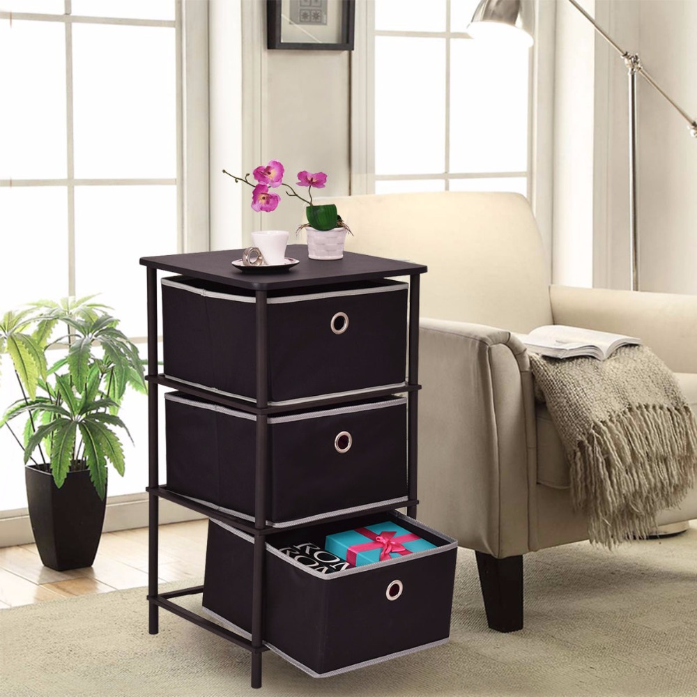 Golplus Bedroom Furniture Nightstands End Side Sofa Table Bin Home Office Storage Cabinets 3Tiers Modern Bedside Cabinet HW54188<br>