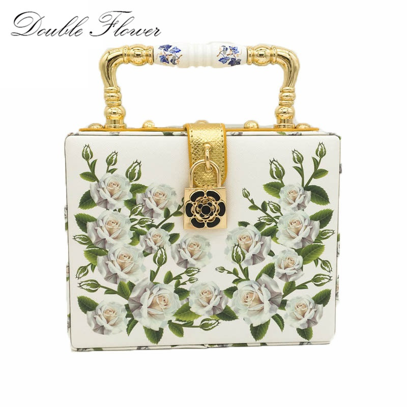 White Rose Flower Women Fashion Handbags Shoulder Totes Box Clutch Bags Ladies Casual Business Party Crossbody Clutches Bag<br>