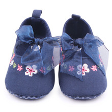 New Arrival Hand Embroidery Flower Design Butterfly-Knot Baby Newborn Girl Shoes 0-15 Months(China)