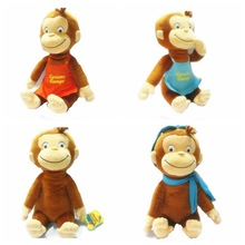 2016 Cute 30CM CURIOUS GEORGE Monkey Plush Doll Boots Toy Stuffed Animals & Plush Kids Christmas Birthday Gift(China)