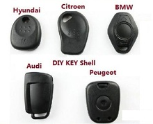 Best Quality 5pcs/lot Universal Car key Shell For Audi/BMW/Hyundai/Citroen/Peugeot key handle shell DIY fixed without Key blade