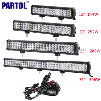 """Partol 12 """"20"""" 23 """"31"""" 3-Row 6D LED Light Bar Offroad Led Bar Combo Faisceau conduire la Lumière de Travail Camion SUV ATV 4x4 4WD CREE Puces 12 V"""