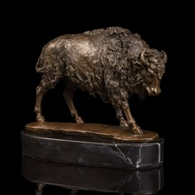 New Christmas Gifts bronze sheep statue sculpture metal art birthday present office decoration(China)