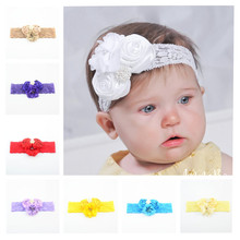Beautiful Girls Rose Flower with Rhinestone Button Headbands Lace Hairband Kids  DIY Crafts Hair Accessories