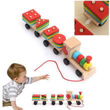 Amazing Children Wooden Stacking Train Wooden Blocks Baby Early Learning Toys 1 set Educational Wooden Toys(China)