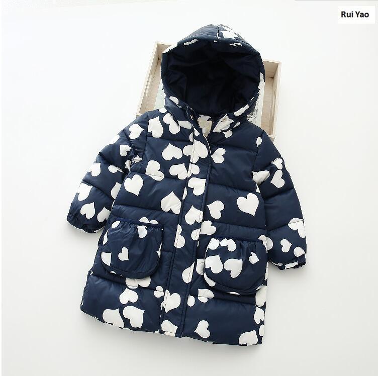 YB1008-08112 Baby Jacket Girl Coat Worm Print Hearts Girl Outerwear Fashion Girls Winter Jackets Lolita Kids Jacket Girls Jacket<br>